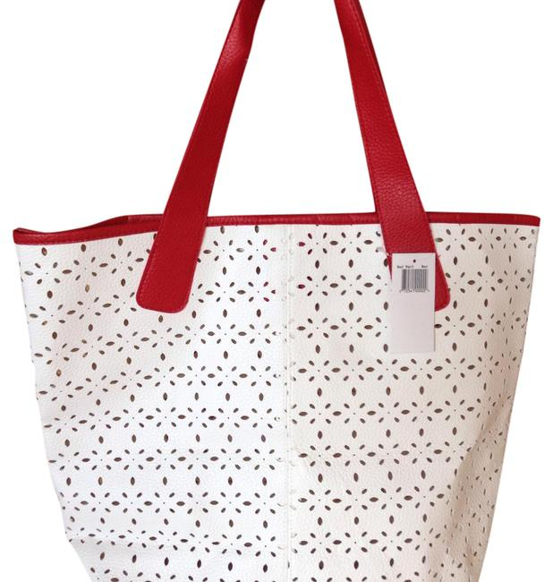Item - Bag Beauty Faux Leather Perforated Bag. White and Red Tote