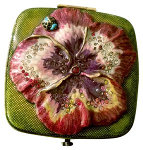 Jay Strongwater JAY STRONGWATER flower crystal enamel Compact Mirror