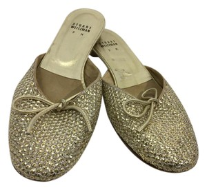 Stuart Weitzman Covered In Bow Made Spain Gold glitter sequins leather sole slip on backless Flats