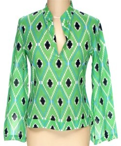 Tory Burch Longsleeve Print V-neck Top Green