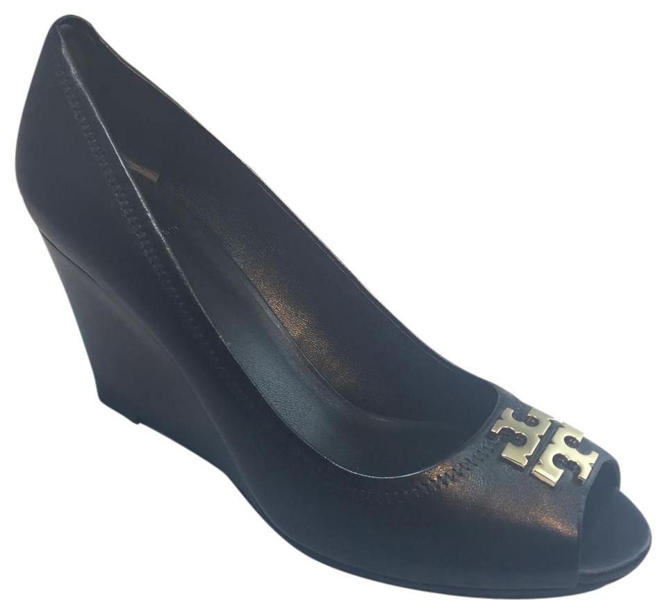 40e1ccfb9fcc Tory Burch Black Laura 85mm Open Toe Wedges. Size  US 7 Regular (M ...