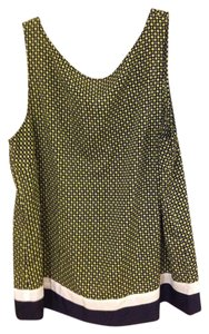 Ann Taylor LOFT Top Lime green, navy and cream