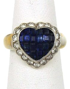 Other Estate2.1ct Diamond & Sapphire 18k Two Tone Gold Heart Cocktail Ring