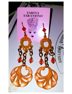 Tarina Tarantino Magic Hour Swarovski Crystals Lucite Carved Dangle Earrings
