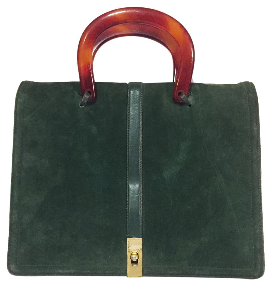 2c42d78e Bloch Evening Bag Vintage Brand Suede Tortoise Shell Top Handle Green  Baguette