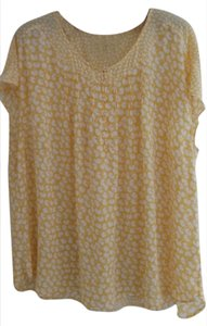 Talbots Top yellow and white