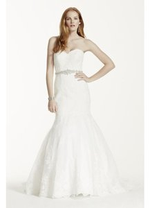 David's Bridal Sweetheart Trumpet Wedding Dress With Beaded Sash Style V3680 Wedding Dress