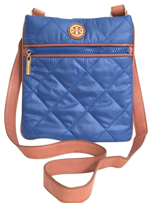 Item - W Quilted W/Leather Trim Blue Brown Nylon Cross Body Bag