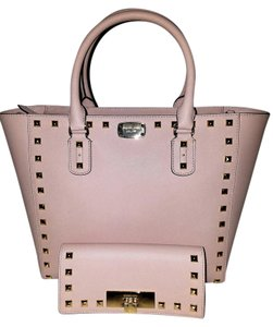 Michael Kors Mk Satchels Saffiano Leather Callie Wallet Studded Tote in Pink