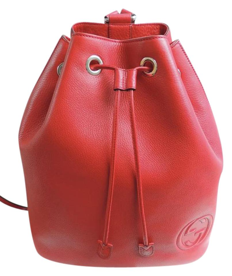 3f7fb4dc230 Gucci Soho Drawstring Red Pebbled Leather Backpack - Tradesy