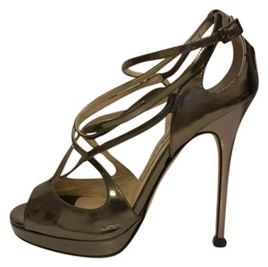 Jimmy Choo Gold Strappy Heels Pewter Sandals