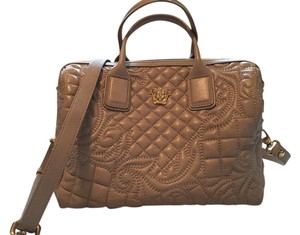 Versace Leather Gold Hardware Satchel in Sand