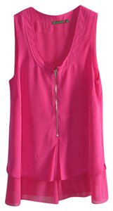 The Letter Tank Flowy Zipper Sleeveless Top Fuschia