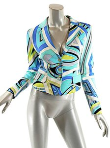 Emilio Pucci Signature Print Easter Spring Summer Blue Multi Color Jacket