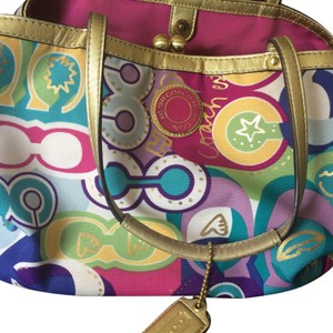 Coach Satchel in Multicolor with hot pink lining