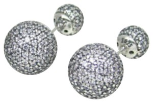 PANDORA Authentic Pandora #290737CZ Pave Drops Double Sided Earrings with Clear CZ