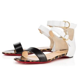 Christian Louboutin Flat Tres Bea Ankle Strap White, Black, Leopard Sandals