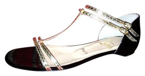 Christian Louboutin Flat Ankle Strap Arnold Gold Watersnake Black, Gold Sandals