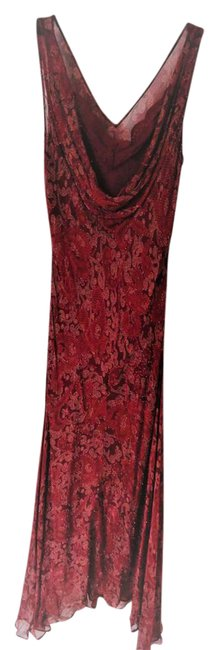 Item - Red Silk Evening Long Cocktail Dress Size 4 (S)