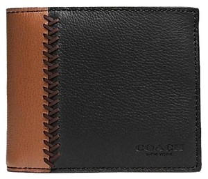 Coach COACH F75170 Compact ID Mens Wallet in Baseball Stitch Leather