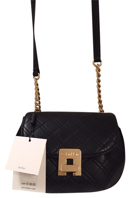 Calvin Klein Mini Saddle Black Quilted Leather Cross Body Bag Tradesy