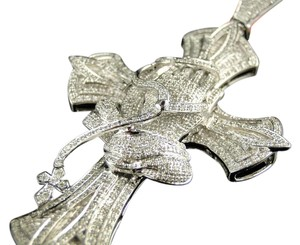 Other WHITE GOLD FINISH XL 3.75 INCH DIAMOND PRAYING HANDS CROSS PENDANT 3.0