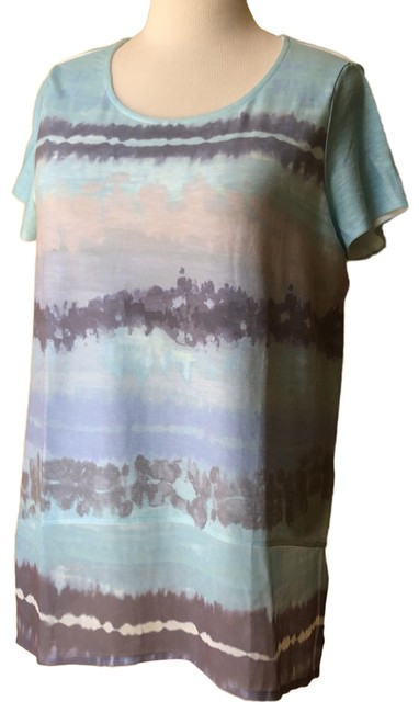 Item - Taupe and Turquoise Tee Shirt Size 14 (L)