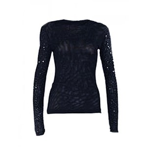 Narciso Rodriguez Thin Sequin Stretch Mesh Designer Couture Sweater