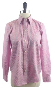 Ralph Lauren Blue Striped Non-iron Button Down Shirt Pink