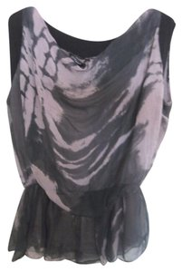 H TREND 100% Silk Draped Sophisticated Shirt Short Sleeve Top Grey Black