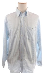 Lacoste White Striped Cotton Button Down Shirt Blue