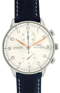 IWC IWC Portuguese Chronograph IW371445 Stainless Steel Black Leather Men'