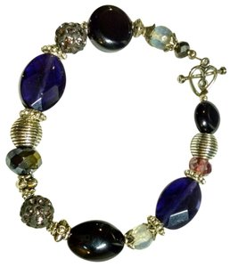 New Amethyst Agate Quartz Gemstone Bracelet Silver Purple 8 Inch J732