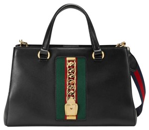 Gucci Sylvie Tote Web Satchel in black