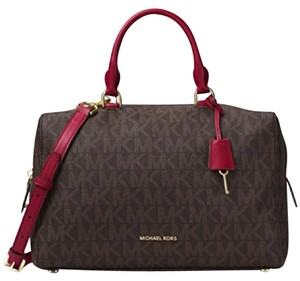 Michael Kors Satchel in Brown/ Cherry
