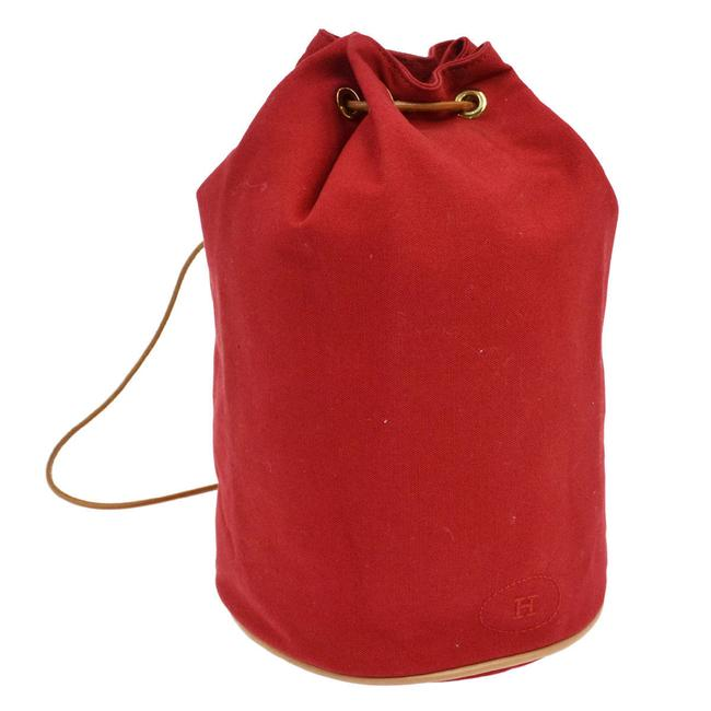 Item - Shoulder Matelot Logos Drawstring Red Cotton Weekend/Travel Bag