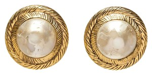 Chanel Chanel Gold with Pearl Round Clip On Earrings