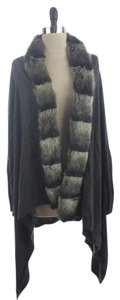 Worthington Faux Chinchilla Fur Trimmed Duster Long Cardigan