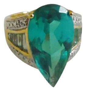 Technibond Technibond Pear Shape Lab Created Green Teal Topaz Ring size 8
