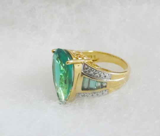 Technibond RARE Technibond Pear Shape Lab Created Green Teal Topaz Ring size 8
