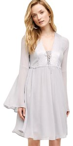 Anthropologie short dress Grey Bohemian Peasant Lace-up Front Bell Sleeves on Tradesy