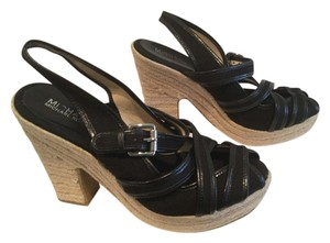Michael by Michael Kors Lots Of Straps Black and tan Platforms