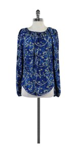 Elizabeth and James Blue Ivory Floral Print Top