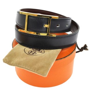 Hermès H Black Leather Belt Gold Buckle