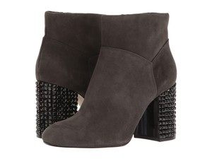 Michael Kors Crystal Suede Embellished Color-blocking Block Heel Gray Boots