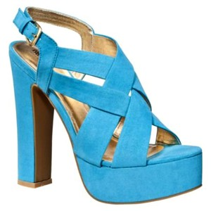 Mossimo Supply Co. High Heel Chunky Strappy Petene Teal Blue Sandals