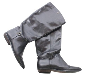 Etienne Aigner Leather Knee High Flat Riding Black Boots