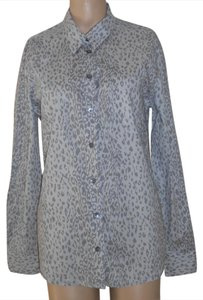 Equipment Leopard Print Cotton Button Down Shirt Gray