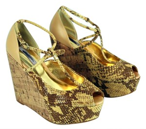 Ted Baker Leuzea Wedge Brown and Yellow Sandals