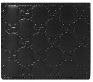 Gucci GUCCI Black Guccissima Leather Avel Bifold Wallet Men purse clutch